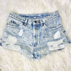 Lee high waisted distressed light wash